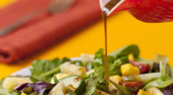 Psychedelicatessen: Mixed Greens, Mango and Pineapple with Cannabis-Curry Vinaigrette